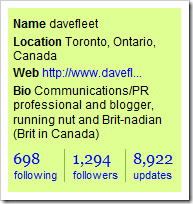 Dave Fleet's Twitter profile