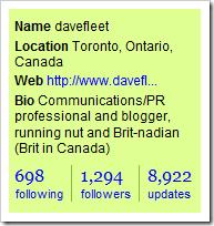 Dave Fleet's Twitter profile