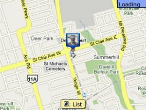 Screenshot from Google Maps application on Blackberry