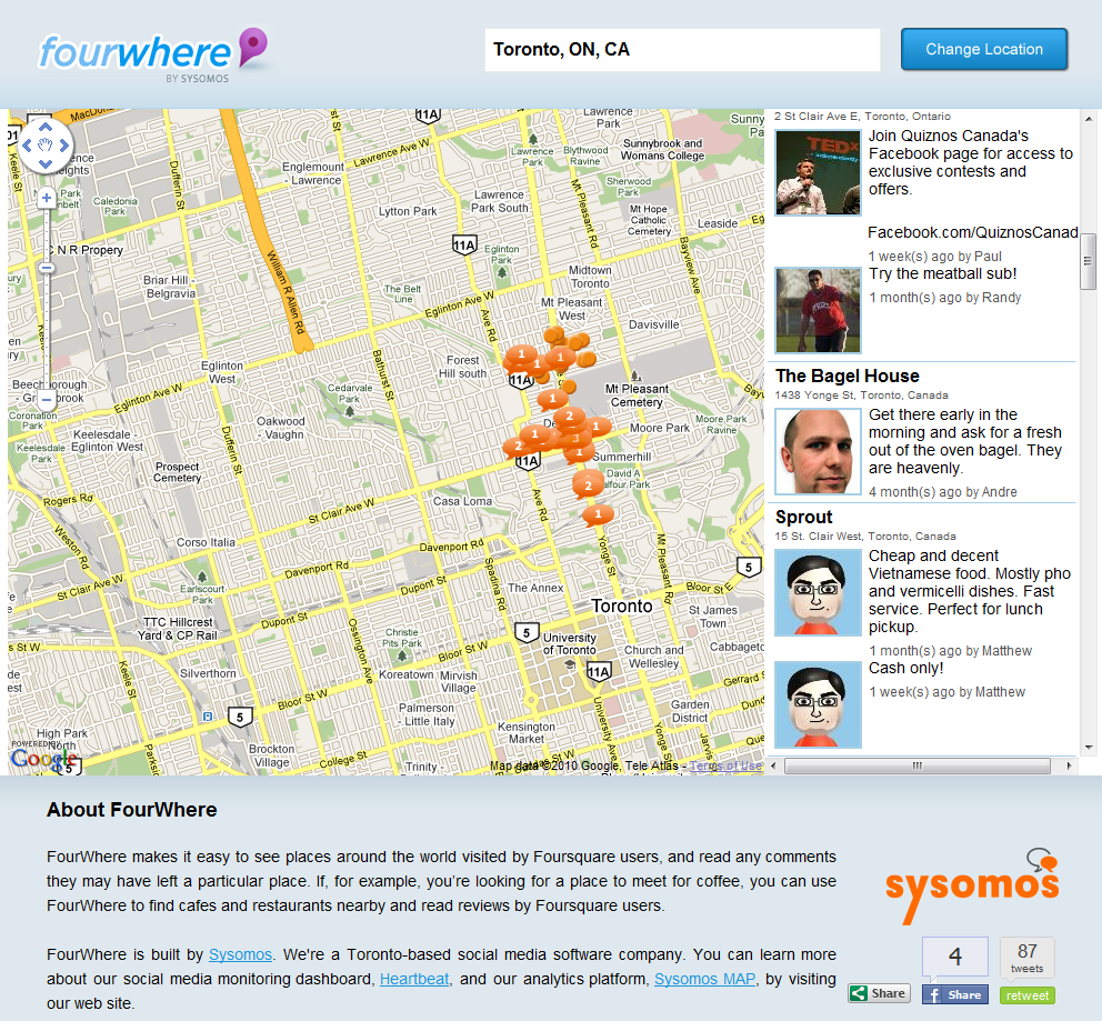 FourWhere Mines Foursquare For Venues, Tips